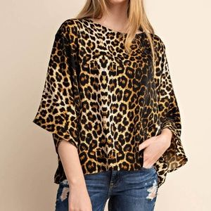 Tops - Satin Leopard Wide Sleeves Blouse